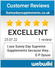 Reviews of sunnydaysupplements.co.uk